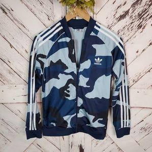 Adidas Camo Zip Up Track Jacket L Youth